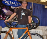 Ashland, OR, based builder, Mike DeSalvo shows off one of his creations. When Mike isn?t building his own frames, he?s welding up Sacha White?s Speedvagen line. ? Dave Lawson