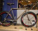 Eugene-based Winter Bicycles brought several bikes including this unpainted cyclocross rig. Winter?s Eric Estlund explained that he always likes to have one unfinished bike on hand to show off the welds. ? Dave Lawson