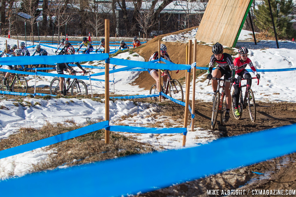 Emma White working through the crowd in the Womens 17-18 and 15-16 on the 2014 National Cyclocross Championships. © Mike Albright