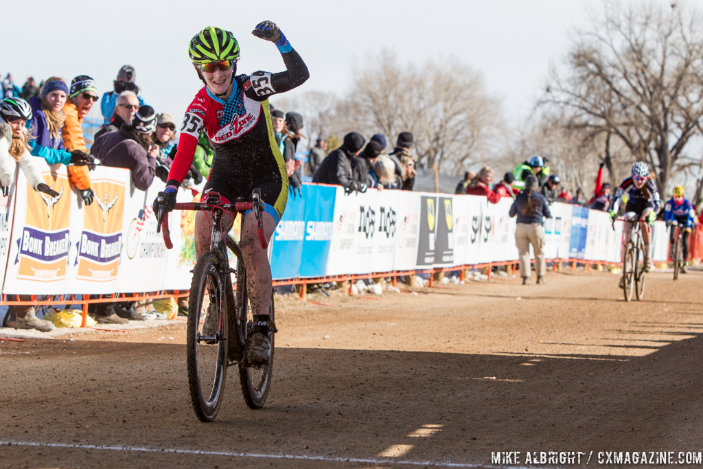 Katherine Santos takes the win in the Womens 17-18 in the 2014 National Cyclocross Championships. © Mike Albright