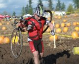 Racers tackled a muddy pumpkin field © Janet Hill