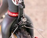 Studley's fork-mounted cable hanger on her Redline Conquest singlespeed keeps braking completely chatter-free. Sea Otter Classic Expo 2011. © Cyclocross Magazine