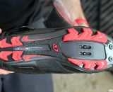 A stiff, Easton EC90 carbon sole transfers your power on the Giro Code shoe. Sea Otter Classic Expo 2011. © Cyclocross Magazine