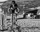 Ben Berden hits the sand during cyclocross at Sea Otter. © Mike Albright