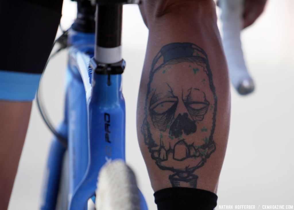 Berden\'s tattoo looked menacing at the Raleigh cyclocross race at Sea Otter. © Cyclocross Magazine