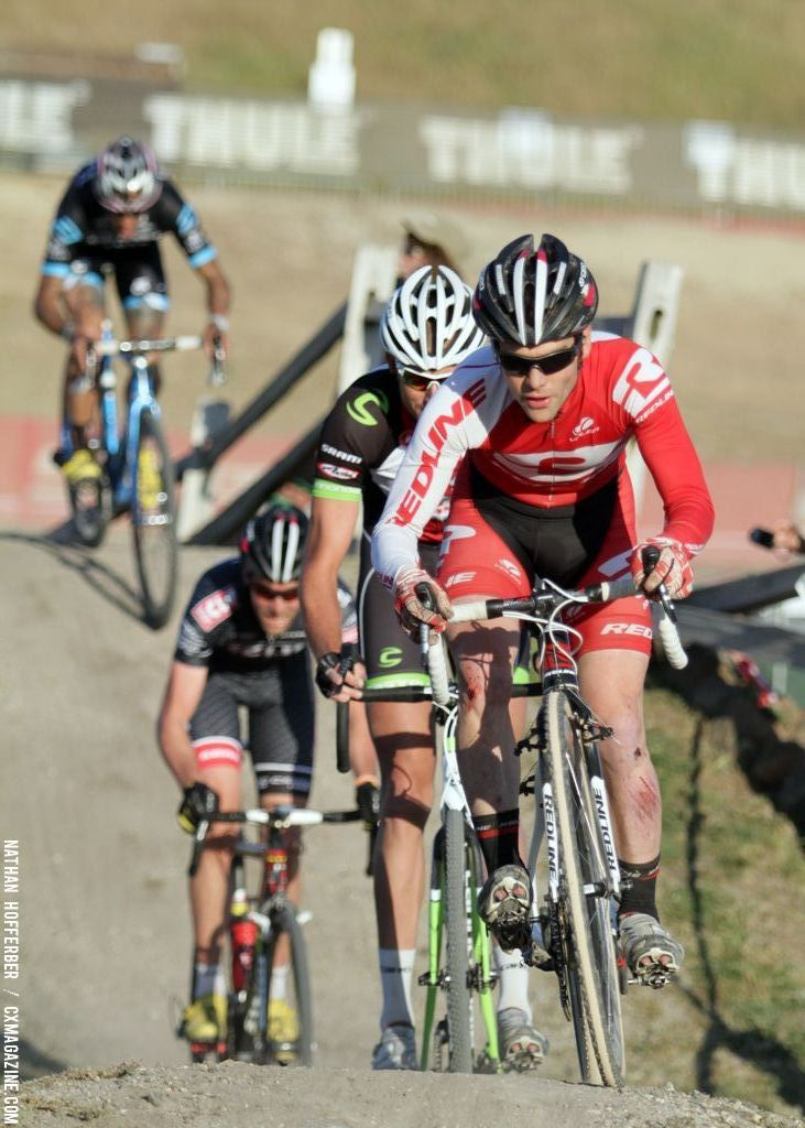 Lindine leads at the Raleigh cyclocross race at Sea Otter. © Cyclocross Magazine
