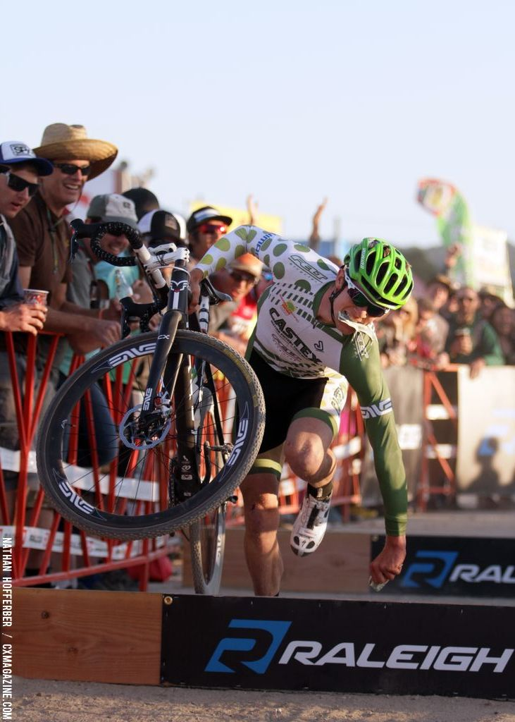 Tripping for dollar handups at the Raleigh cyclocross race at Sea Otter. © Cyclocross Magazine