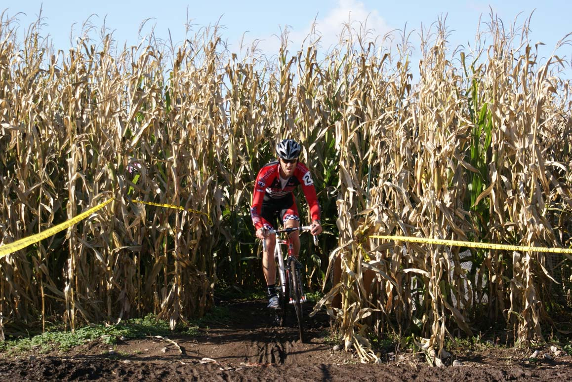 Out of the corn comes...another rider. Seattle Cyclocross #5, Maris Farm, November 1, 2009. ? Kenton Berg