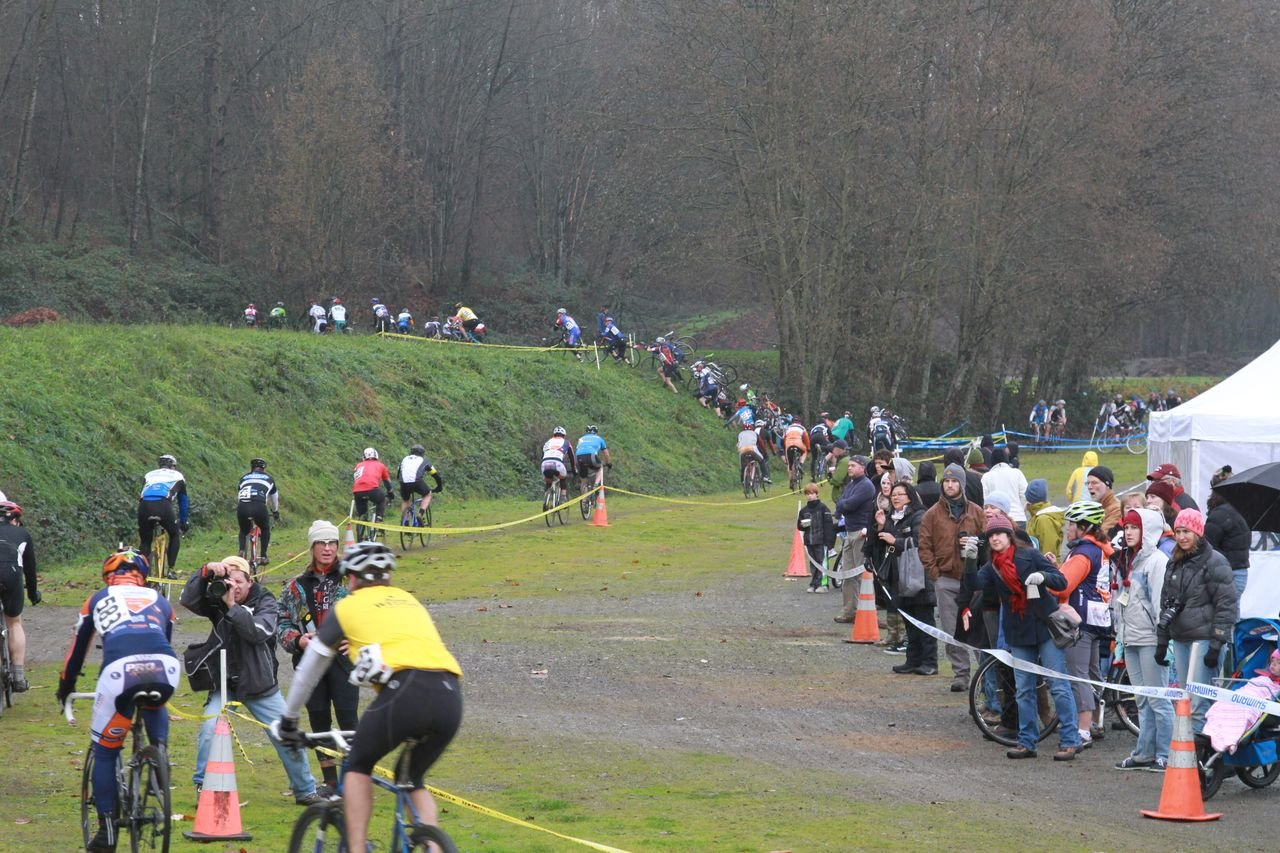 The course featured some steep sections and snaked across wet grass and forested paths © Janet Hill