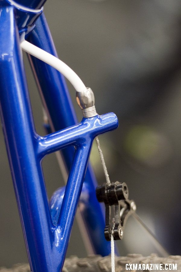 Shamrock Cycles\' rear brake hanger has triangulated structural support for a stiffer, more responsive braking. ©Cyclocross Magazine