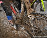 Mud, ice and organic material caked the bikes by the end of the race. © Steve Anderson