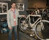 Six Eleven Bicycle Co.'s Aaron Dykstra with his cyclocross bike at NAHBS 2012. ©Cyclocross Magazine