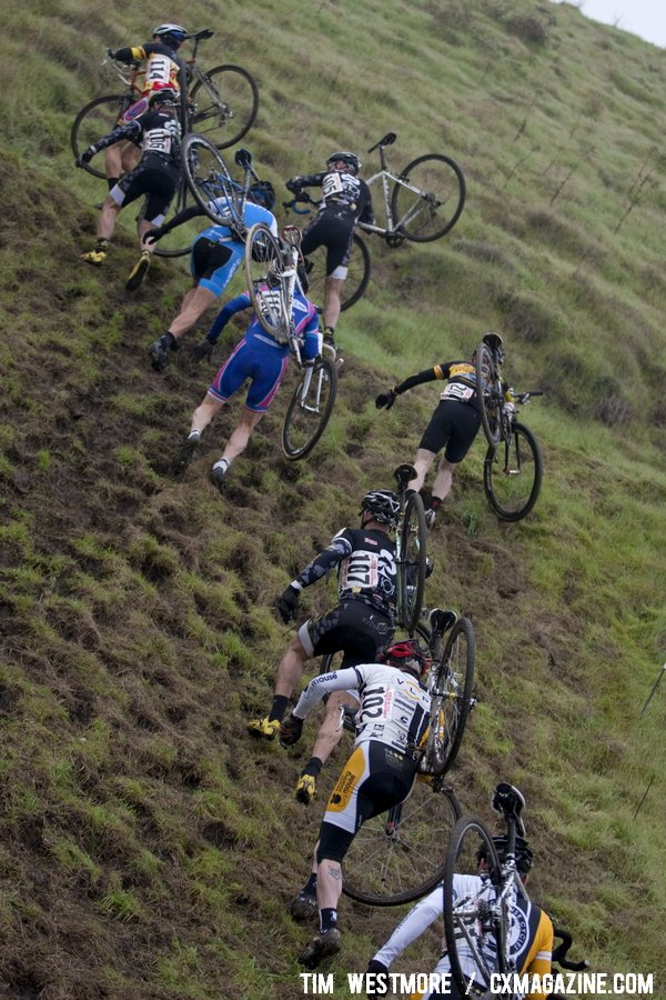 The soft run-up proved challenging. Socal vs. Norcal Cyclocross Championships. © Tim Westmore