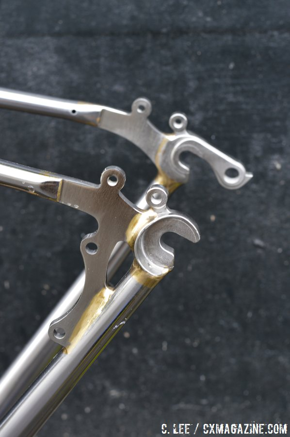 Chainstay-mounted disc brakes, feder and rack mounts. Soma Fab\'s stainless steel Triple Cross disc brake cyclocross bike. © Cyclocross Magazine