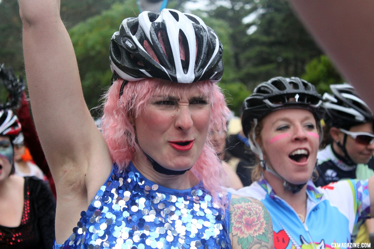 The women showed their spirit before racing got underway.  SCXWC 2011 © Cyclocross Magazine