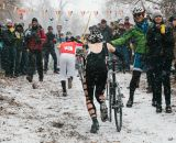 Trying to stay warm at SSCXWC 2013. ©  Dominic Mercier