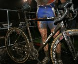 Adam Craig displays his mud-riddled Giant post-race © Josh Liberles