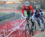 Luke Keough (Champion System p/b Keough Cyclocross) died a thousand deaths to stay with Powers (Cannondale p/b cyclocrossworld.com) ©Natalia Boltukhova | Pedal Power Photography | 2010