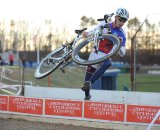 Luke Keough (Champion System p/b Keough Cyclocross) didn't hop the barriers, but did stay with Powers the longest ©Natalia Boltukhova | Pedal Power Photography | 2010