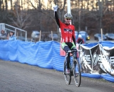 Jeremy Powers (Cannondale p/b cyclocrossworld.com) salutes his victory ©Natalia Boltukhova | Pedal Power Photography | 2010