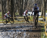 Overend and Norm Kreiss through the frozen rut section during the Men's 55-59 race. ©Steve Anderson