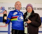 New 75+ World Cyclocross Champion Ron Riley of Bike Station Aptos and his wife celebrate. ©Steve Anderson