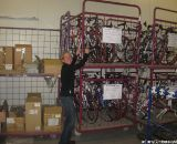 Old Katusha team bikes in 'bike prison'. I tried to free them © Sue Butler