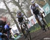 Sven Nys, right, and Philipp Walsleben on the straight away. © Bart Hazen / Cyclocross Magazine