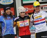 The Elite Women's podium (L-R): Helen Wyman (Kona Factory Team), 2nd; Sanne Cant (Enertherm-BKCP), 1st; Nikki Harris (Telenet-Fidea), 3rd. © Bart Hazen / Cyclocross Magazine