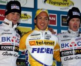 Simunek (l), Meeusen, and Vanthourenhout on the Superprestige podium in Gieten. © Bart Hazen