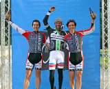 The men's podium: Johnson with the Jacques-Maynes twins - Andy in second (left) and Ben in third. Surf City Cyclocross Series Finale, Aptos High School, 1/10/10. ? Cyclocross Magazine