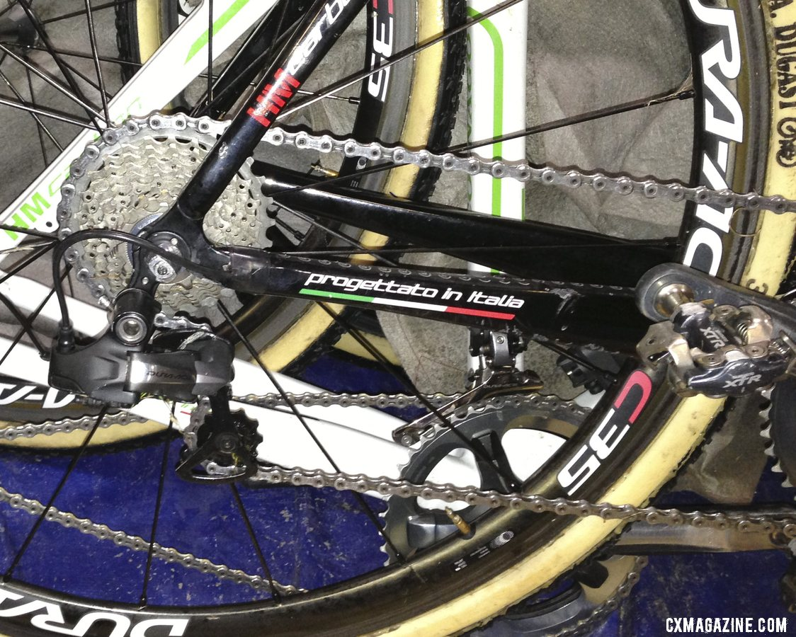 Shimano XTR M970 pedals and a Dura-Ace 7900 crankset with custom 46-38 chainrings.  © Cyclocross Magazine