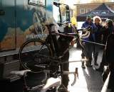 A mechanic works on Nys' Bike. ? Dan Seaton