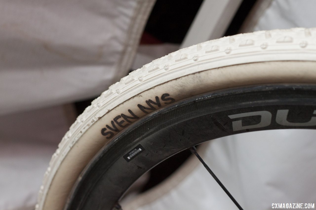 Only one rider this year gets Dugast tires with these markings. © Cyclocross Magazine