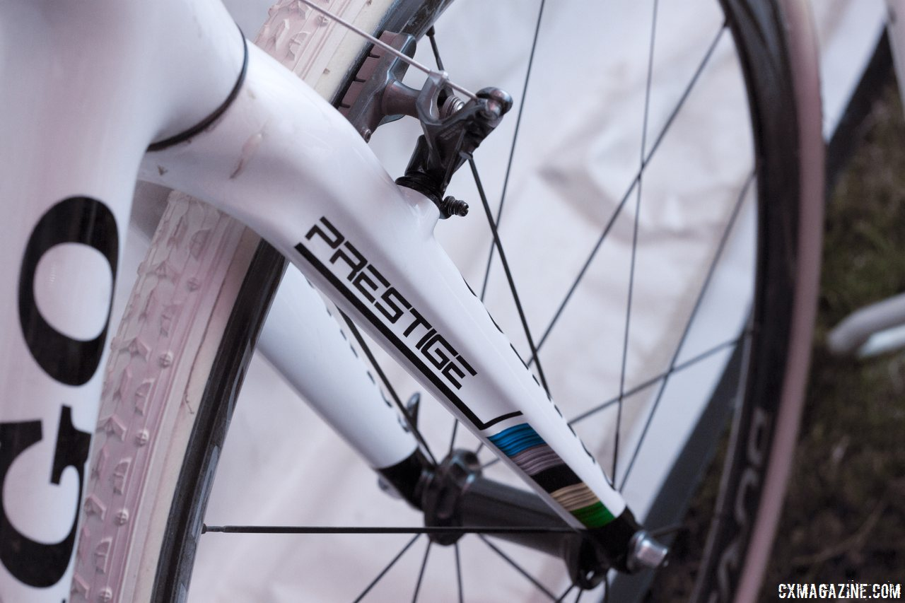 Sven Nys\' winning Colnago Prestige features a large head tube but straight steerer fork.  Cross Vegas 2013. © Cyclocross Magazine
