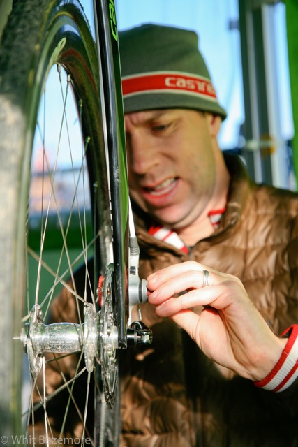 Roy prepping the disc brake setup. ©Whit Bazemore