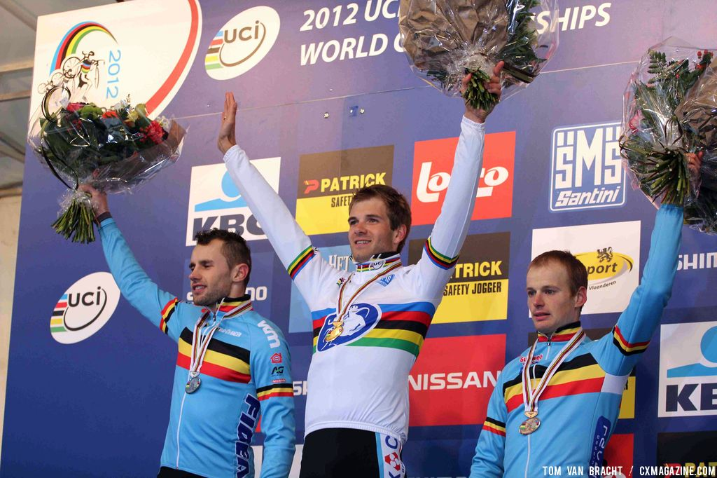(L to R): Peeters, Albert, Pauwels on an all-Belgian podium. ©Thomas van Bracht