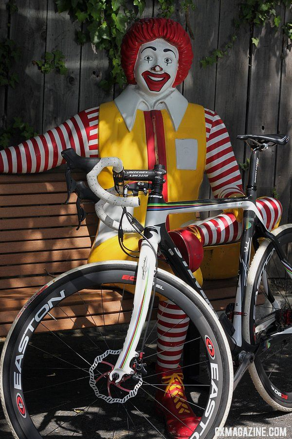 Fast food, fast friends. Ronald McDonald gets friendly with the TRP Brakes Parabox disc brake system. © Cyclocross Magazine