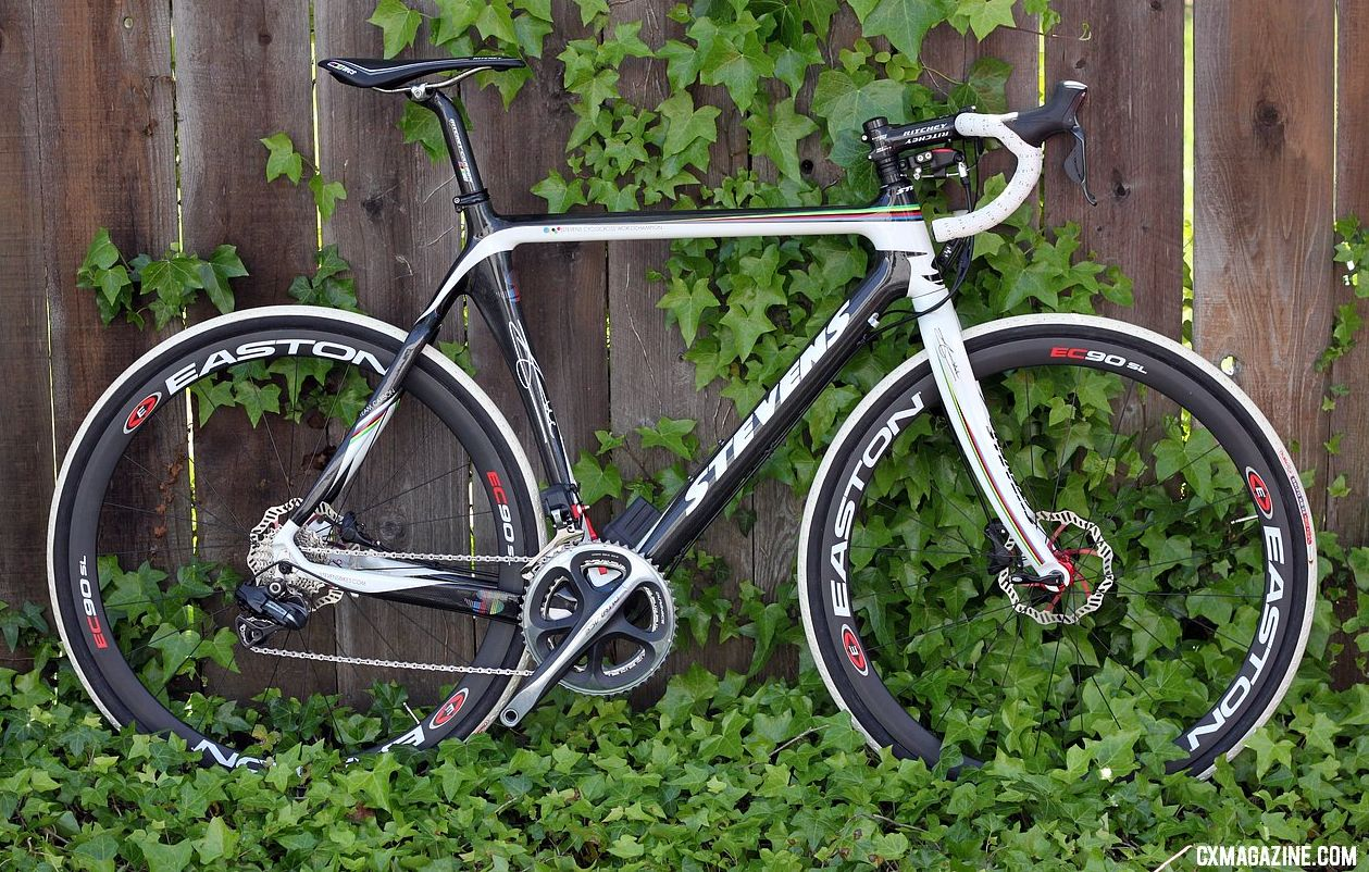The carbon Stevens disc Shimano Di2 cyclocross bike with the TRP Brakes Parabox disc brake system. © Cyclocross Magazine