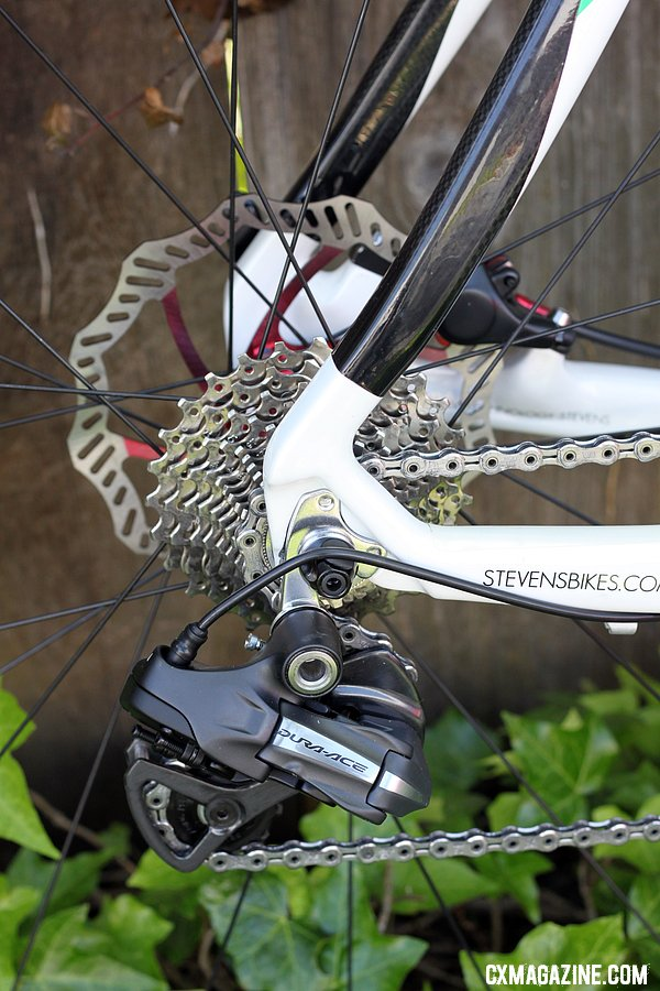 Traditionalists, eat your heart out. Electronic shifting, disc brakes, carbon fiber and 135mm rear spacing. © Cyclocross Magazine