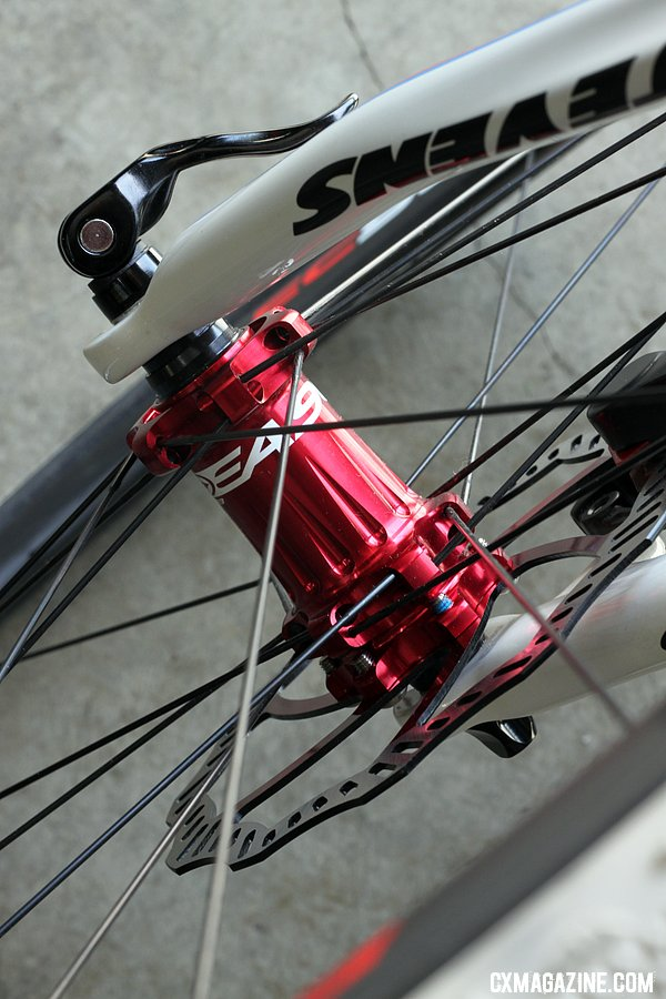 Easton built up a custom EC90 tubular wheelset for the TRP demo bike to display the Parabox hydraulic disc brake adaptor. © Cyclocross Magazine
