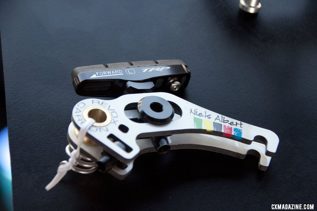 The limited edition Niels Albert World Champion TRP RevoX carbon cantilever brake. ©Cyclocross Magazine