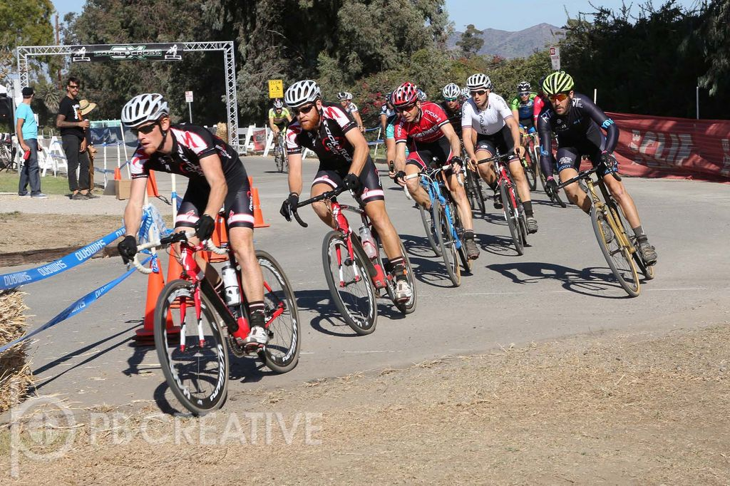 Kyle Gritters (Rock n' Road), Brandon Gritters (Rock n' Road), Brent Prenzlow (Celo Pacific), Ty Hathaway (Mudfoot/Giro/Yonder) and Cory Greenberg (Cynergy) lead the Men's A charge. Hathaway was stoked to score his first elite podium. © Phil Beckman/PB Creative (pbcreative.smugmug.com)