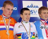 The U23 podium (left to right): Mike Teunissen, Lars van der Haar and Karel Hnik