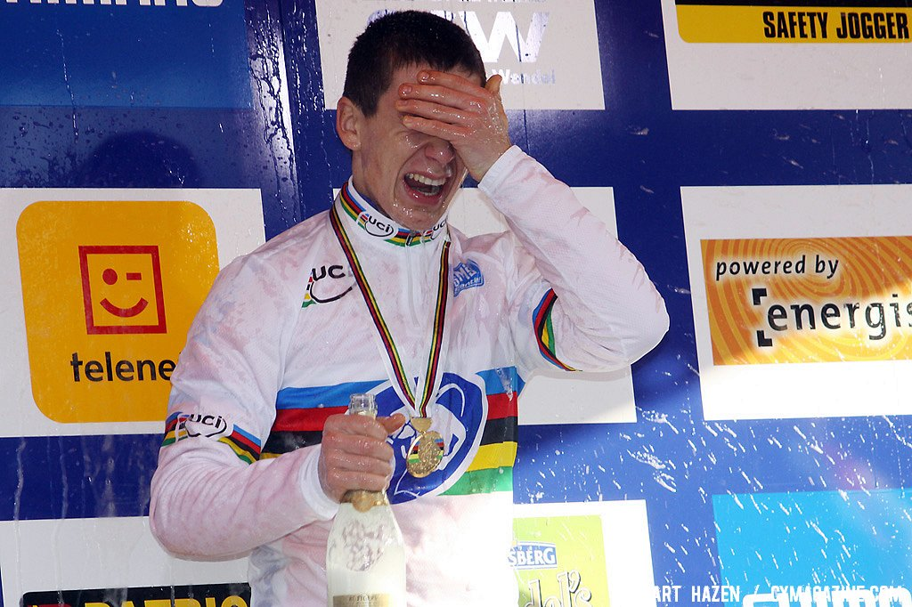 Lars van der Haar got a champagne shower but clearly doesn\'t see anything for that moment