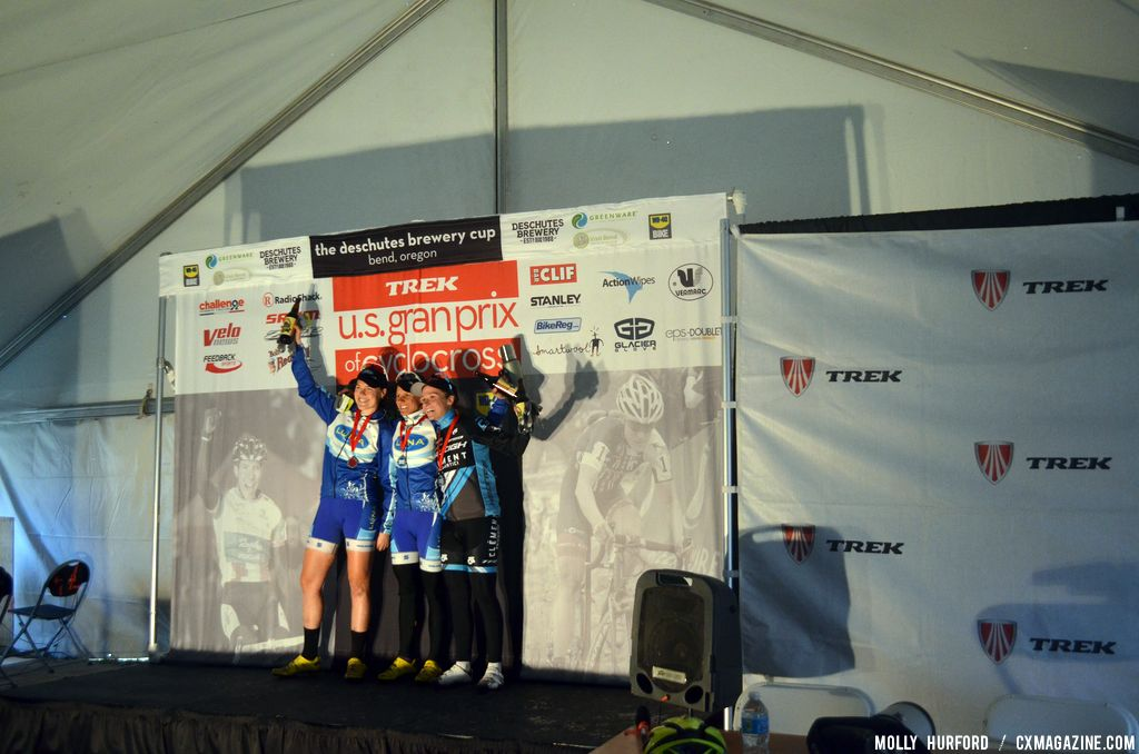 The women\'s podium. © Cyclocross Magazine