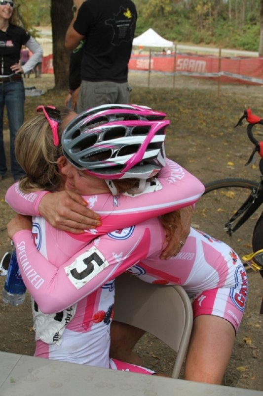 Teal Stetson-Lee gives her teammate Meredith Miller a hug for her successful race © Amy Dykema
