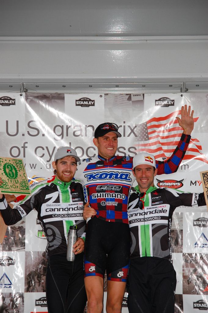 East Coast and West Coast get friendly - the men\'s Mercer Cup podium. ? Tom Olesnevich