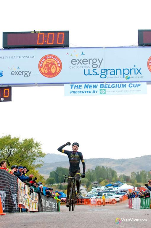 Ryan Trebon (LTS/Felt) enjoying his win on Day 1 of the USGP Fort Collins. © VeloVivid Cycling Photography