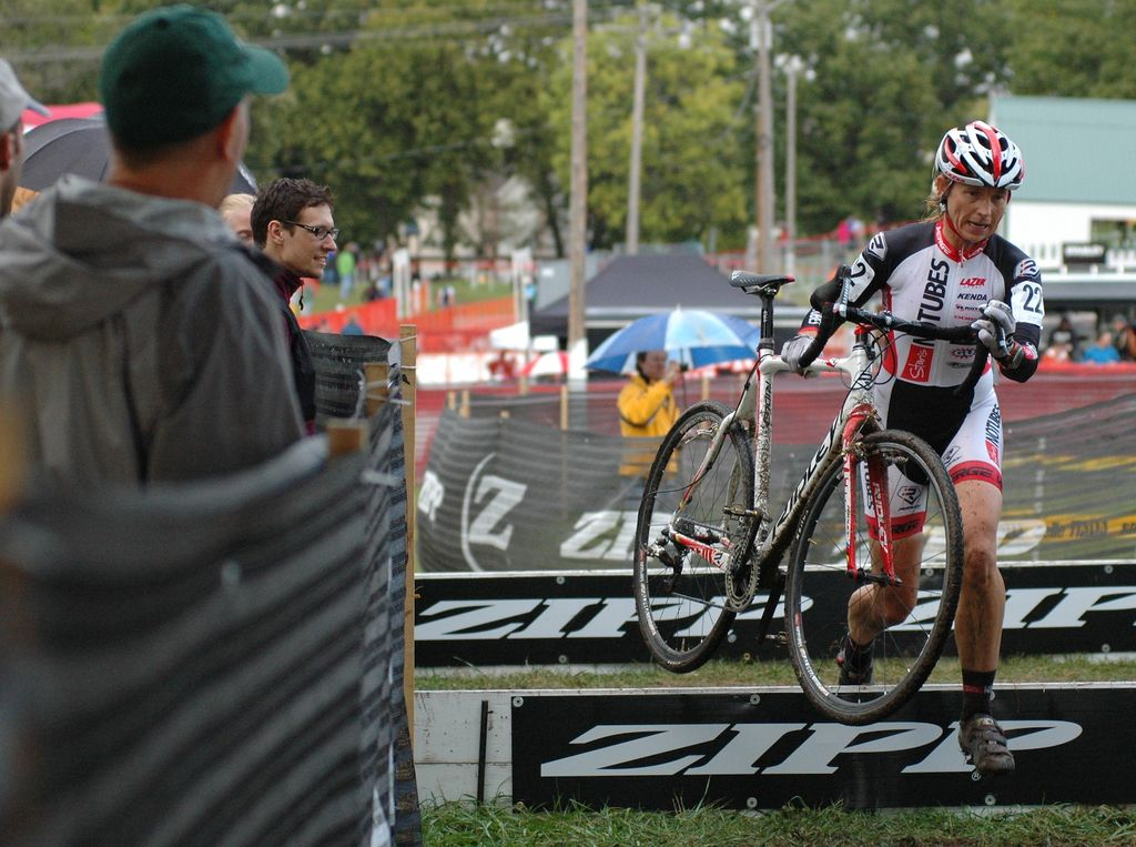 Shannon Gibson (Stan\'s No Tubes Elite Cyclocross) races over the barriers Saturday at the USGP Planet Bike Cup in Sun Prairie Wisconsin. © Aaron Johnson